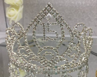 Pointed Sweet 15 Mis Quince Anos Silver Rhinestone Tiara Favor Gift Keepsake