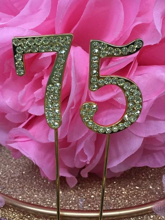 Gold rhinestone 75th birthday number cake decoration for 75th birthday decoration