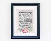 DIGITAL DOWNLOAD Hold Her a Little Longer Print - White with floral Baby Girl Nursery Sign Wall Art - Multiple Colors - Baby Shower gift