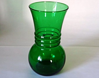 Vintage Emerald Green Glass Vase, 1970s