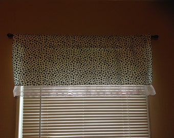 Handmade Curtain/Valance in Black/White Cheetah Print with Pink Lace Trim