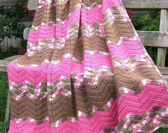 "Vintage Chevron ZIG ZAG  Ripple LARGE 48"" x 80"" Afghan Hand Made Multi Color Rosey Pink, Brown, Ivory & Green"