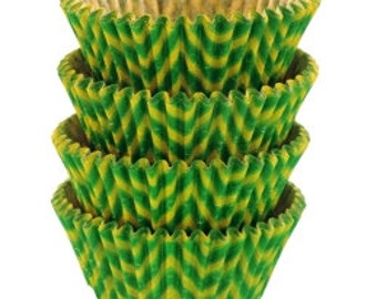 Green and Lime Green Chevron Baking Cups - Standard Size