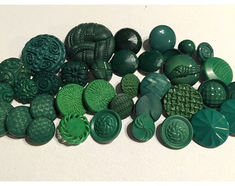 Lot of 35 Grass Spring Green Textured or Patterned Vintage and Newer Buttons, Mixed green button lot, button lot 137