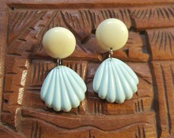 Lemon Yellow & Baby Blue Shelly Dangles  - Stud earrings - Tiki/Tropical/Pinup/Hawaii