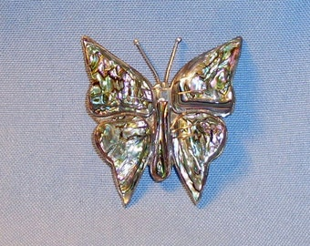 Vintage Mexico Taxco 925 Sterling Abalone Butterfly Brooch JMH