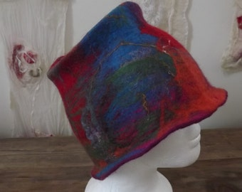 Hand Felted Hat made from Natural Merino Wool and Silk