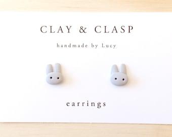 Grey bunny rabbit earrings - beautiful handmade polymer clay jewellery by Clay & Clasp