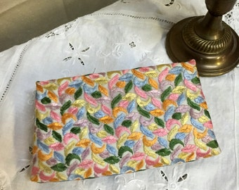 Sweet Pastel Embroidered Vintage Clutch