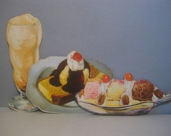 Three [3] Vintage Die Cut Retro Ice Cream Dessert Soda Fountain Paper Ephemera Collectibles