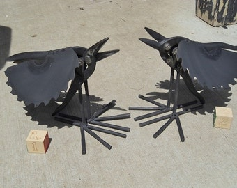 Calling Crow welded garden art made up of salvaged steel