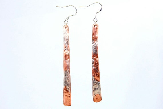 Silver and copper hammered earrings