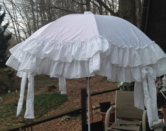 6 ft white ruffled umbrella cover-made to order