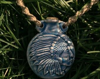 Native American Indian Raku Bottle Necklace