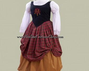 Plus Size Embroidered Bodice Scottish Renaissance Dress Gown - Luckenbooth Heart Knotwork Design - 5 pieces - NEW - 0X 1X 2X 3X 4X 5X 6X 7X