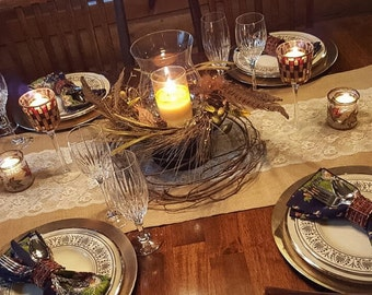 """Burlap & Lace Table Runner  12"""", 14"""", or 15"""" wide with Lace in the center - Wedding runner Home decor Holiday decorating"""