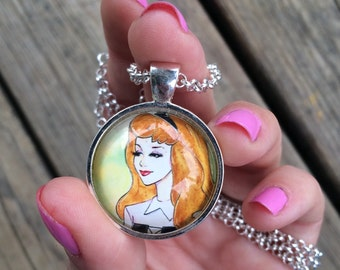Sleeping Beauty Briar Rose Pendant Necklace