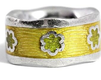 Enamel Silver Ring Yellow