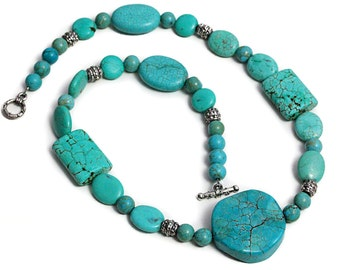 Vintage Turquoise Necklace Collier Beads Jewelry