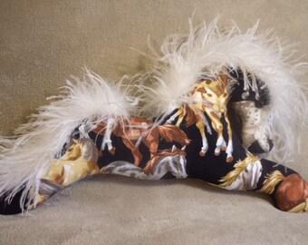 Horse pillow, horse fabric, decorative pillow, Country Western decor, equestrian decor