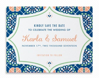 Mexico Destination Wedding Printable Save the Date with Print-at-Home Wedding Invitation Suite and Print-ready Information Card