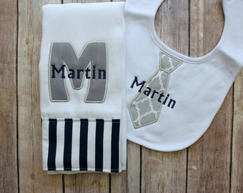 Baby Boy Burp Cloth Set - Monogrammed Burp Cloth Tie Bib, Grey Baby Gift, Personalized Baby Boy Gift, Navy Grey Baby Gift, Baby Shower