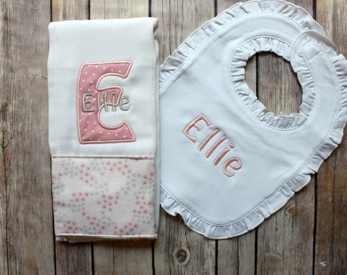 Monogrammed Baby Girl Burp Cloth and Bib Set - Personalized Girl Burp Cloth Bib Baby Gift, Baby Shower Gift, New Baby Monogrammed Gift, Baby