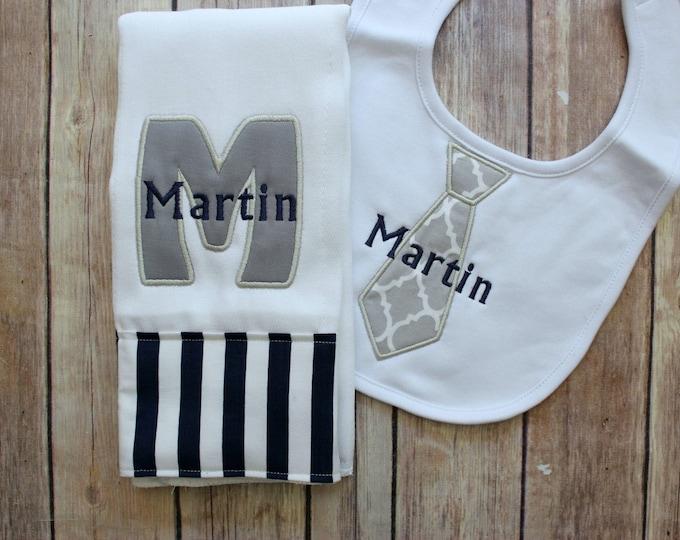 Baby Boy Burp Cloth Set - Monogrammed Burp Cloth Tie Bib, Grey Baby Gift, Personalized Baby Boy Gift, Navy Grey Baby Gift, Baby Shower