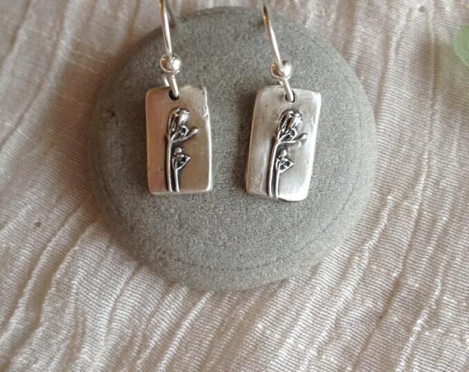 Fine Silver Flower Imprint Earrings - Dill Flowers - Wild Grace Jewelry