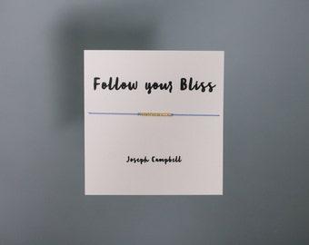 Friendship Bracelet - Follow Your Bliss - Gold Friendship Bracelet on Silk - Lilac
