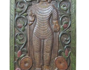 Vintage Standing Buddha Abhaya Mudra Wall Art Hand Carved Wall Panels