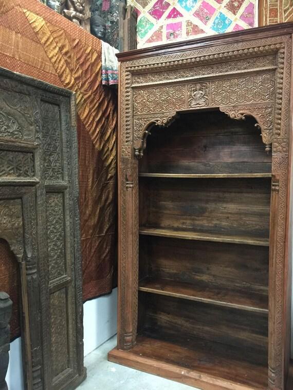 Hand Carved Bookshelf ~ Antique bookcase ganesha indian hand carved wood book shelf