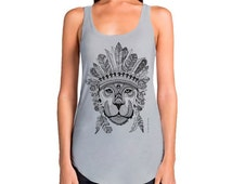 Women's singlet with lion print