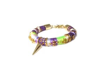 KAYA - colorful rope bracelet with gold spike, boho chic bracelet, ethnic bracelet, arm candy, purple and gold bracelet, ethnic jewelry