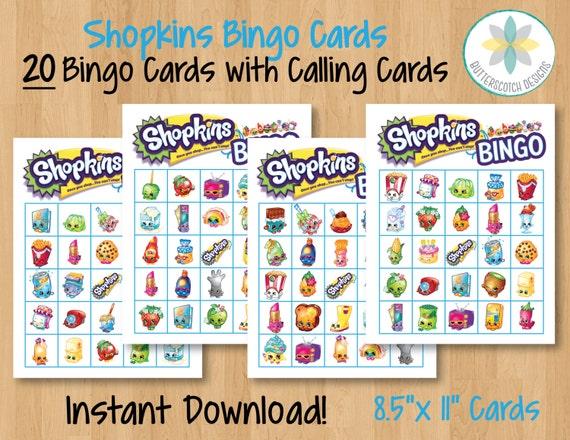 Shopkins printable bingo cards 20 different cards instant download