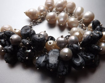 Snowflake Obsidian and Freshwater Pearl Bracelet in Sterling Silver