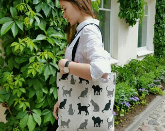 Linen shopping bag, shopper bag with cats, natural linen shopping bag, original, funny and organic present for all, linen tote bag with cats