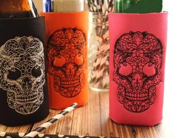 Sugar Skull Party Favor - Sugar Skull Wedding - Day of the Dead - Skully - Custom Can Cooler - Halloween Favors - Beer Holder