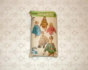 Vintage 70's Poncho Cape Towel Jacket Pattern szM