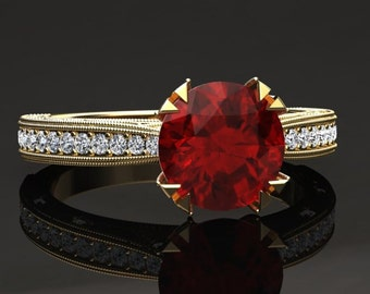 Ruby Engagement Ring Ruby Ring 14k or 18k Yellow Gold Matching Wedding Band Available W21RUBYY
