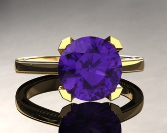 Amethyst Engagement Ring Amethyst Ring 14k or 18k Yellow Gold Matching Wedding Band Available SW1PUY
