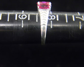 Sterling Silver 925 and Bright Red Stone Ring Size 8 # 7081