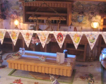 dollhouse easter bunting cotton  dollhouse vintage design 12th scale miniature