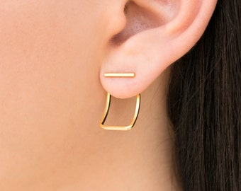 Ear jacket earrings, girlfriend gift, wife gift, gift for women, statement earrings,minimal earrings studs,gold stud earrings, gold earrings