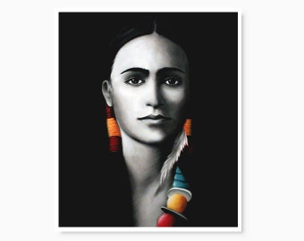 Woman portrait painting, 10x12 print on glossy paper, black and white, native american woman, red yellow tuquoise, elegant home decor