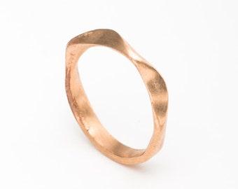 Rose gold wedding band, rose gold ring, wedding ring rose gold, wedding band, mobius wedding band, 18k wave wedding ring, mobius ring gold