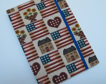 Handmade Journal - Americana - Fabric, Textured - Lined Pages - Unique