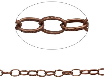 """Antique Copper Textured  Chain Link Cable Chain 8x5mm(3/8""""x2/8""""),sold by the foot"""