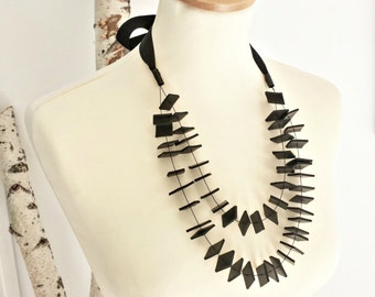 Long statement necklace Modern necklace Long necklace Contemporary jewelry Rubber necklace Multi Strand Necklaces Bib necklace..