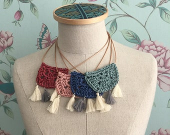 Fringe and crochet necklaces